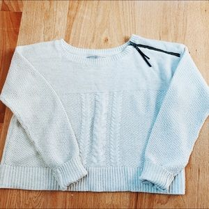 Rubbish Cropped Cable Knit Sweater with Zipper